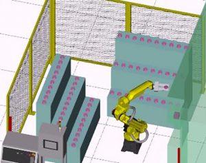 Cellule robotisée de changement d'outils pour centres d'usinage
